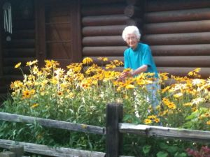 mrs. p with daisies