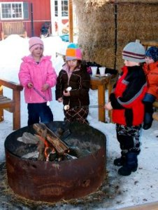 children by bonfire