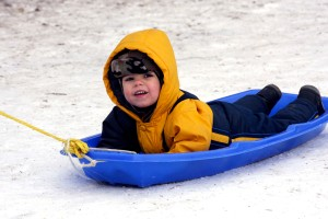 boy on blue sled low